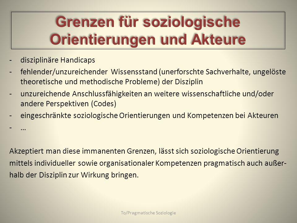 -disziplinäre Handicaps -fehlender/unzureichender Wissensstand (unerforschte Sachverhalte, ungelöste theoretische und methodische Probleme) der Diszip