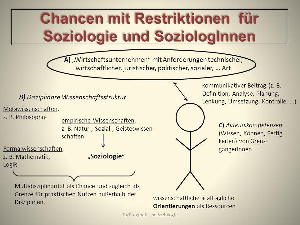 To/Pragmatische Soziologie A) Wirtschaftsunternehmen mit Anforderungen technischer, wirtschaftlicher, juristischer, politischer, sozialer, … Art B) Di