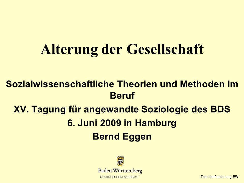 STATISTISCHES LANDESAMT FamilienForschung BW Alterung der Gesellschaft Sozialwissenschaftliche Theorien und Methoden im Beruf XV. Tagung für angewandt