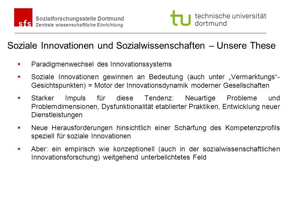 Name Autor | Ort und Datum Sozialforschungsstelle Dortmund Zentrale wissenschaftliche Einrichtung Soziale Innovationen in den Sozialwissenschaften Im Schatten einer weitgehend technik/technologiefixierten Innovationsforschung bzw.