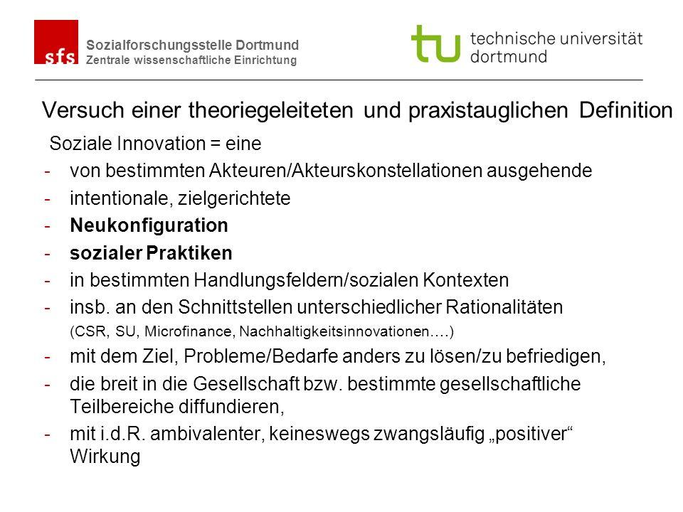 Name Autor | Ort und Datum Sozialforschungsstelle Dortmund Zentrale wissenschaftliche Einrichtung Versuch einer theoriegeleiteten und praxistauglichen