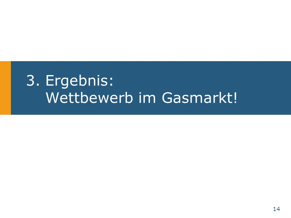 14 3.Ergebnis: Wettbewerb im Gasmarkt!