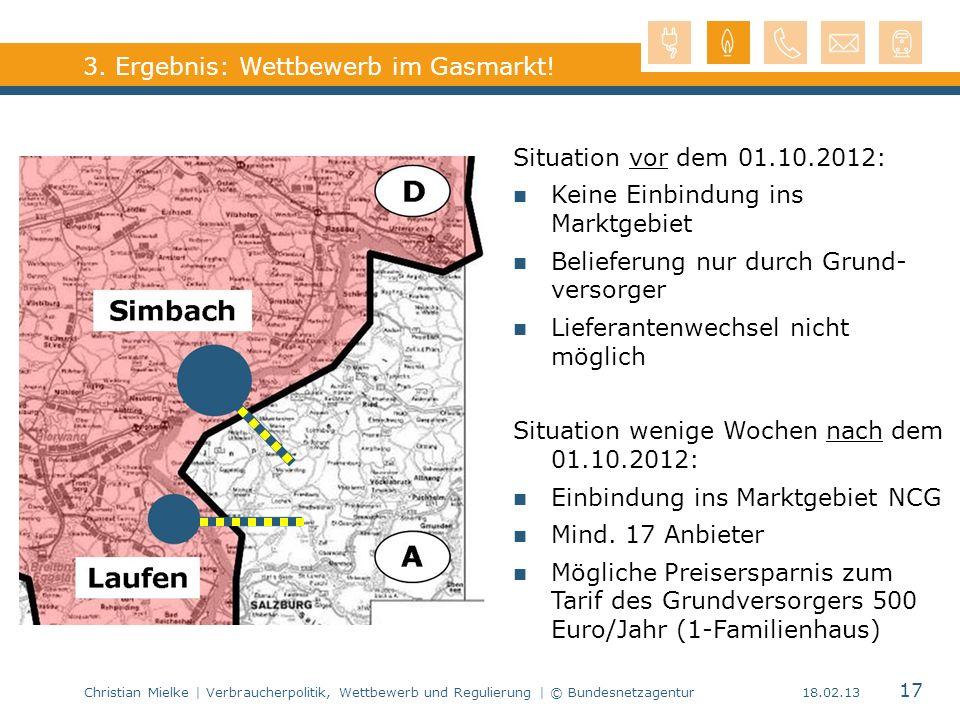 Christian Mielke | Verbraucherpolitik, Wettbewerb und Regulierung | © Bundesnetzagentur 17 18.02.13 Marktgebiet NCG 3. Ergebnis: Wettbewerb im Gasmark