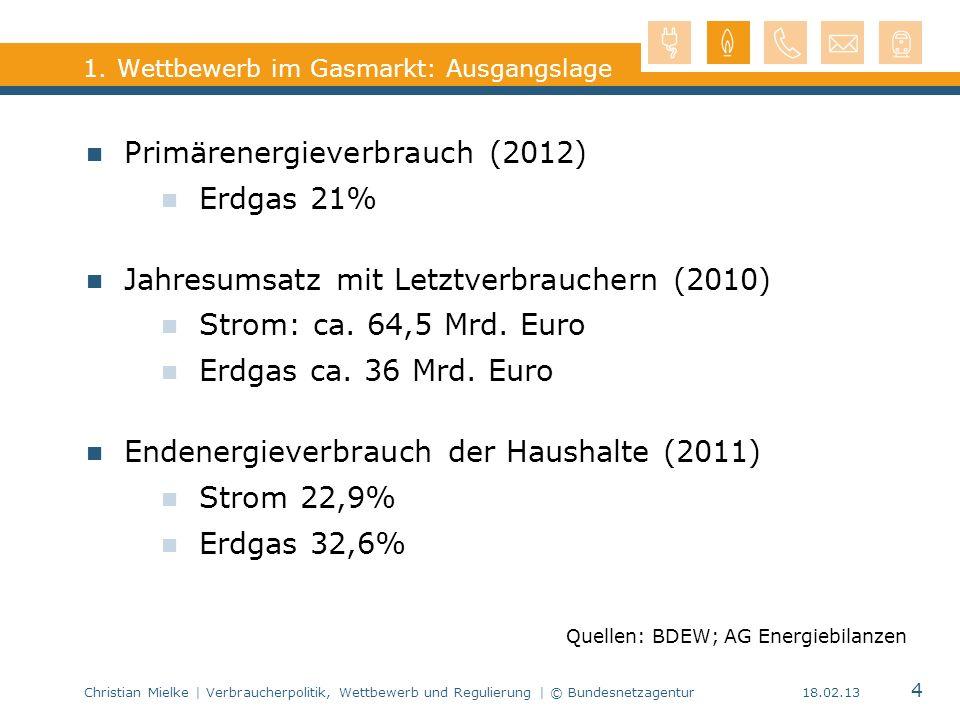Christian Mielke | Verbraucherpolitik, Wettbewerb und Regulierung | © Bundesnetzagentur 4 18.02.13 1. Wettbewerb im Gasmarkt: Ausgangslage Primärenerg