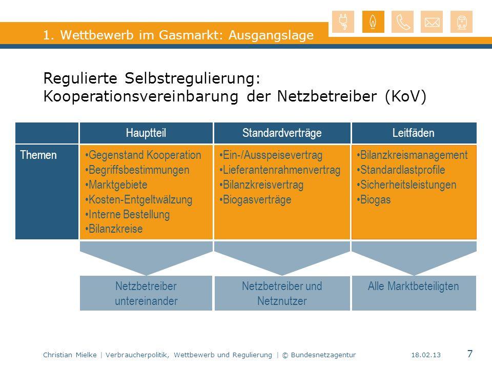 Christian Mielke | Verbraucherpolitik, Wettbewerb und Regulierung | © Bundesnetzagentur 7 18.02.13 1. Wettbewerb im Gasmarkt: Ausgangslage HauptteilSt
