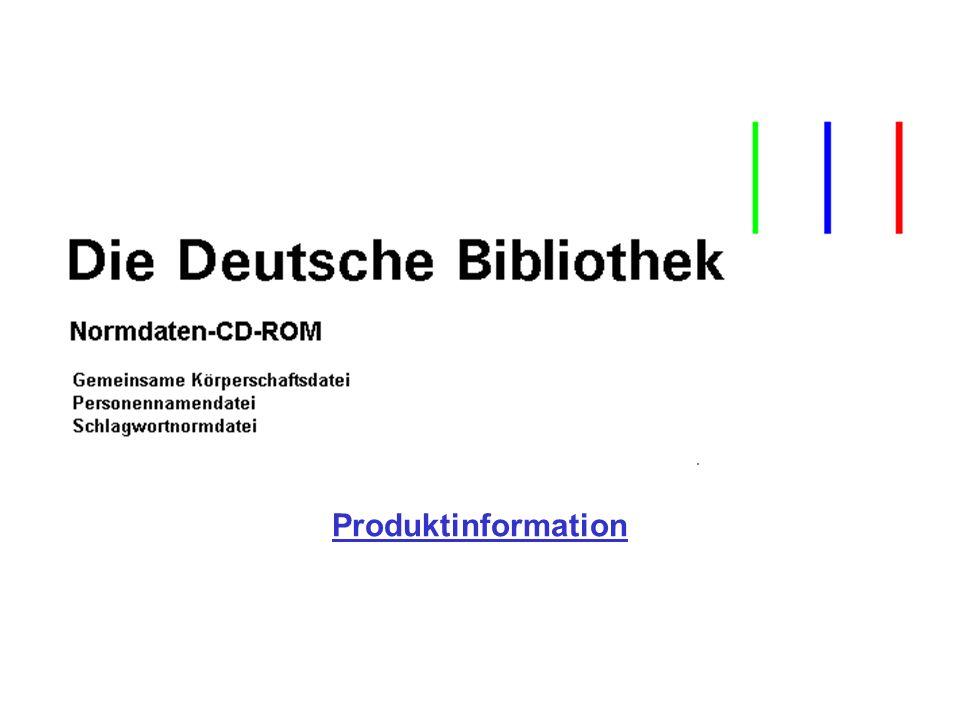 DAS PRODUKT Produktbeschreibung Die Normdaten-CD-ROM enthält die drei Normdateien, die für die Erschließungsarbeit in Bibliotheken und Informationsvermittlungsstellen Anwendung finden: die Gemeinsame Körperschaftsdatei (GKD) die Personennamendatei (PND) die Schlagwortnormdatei (SWD) Insgesamt haben Sie mit der Normdaten-CD-ROM Zugriff auf mehr als 3,5 Mio.