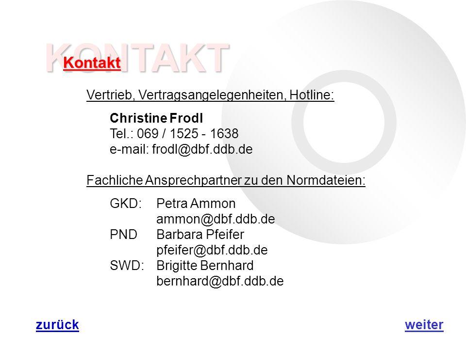 KONTAKT Kontakt Vertrieb, Vertragsangelegenheiten, Hotline: Christine Frodl Tel.: 069 / 1525 - 1638 e-mail: frodl@dbf.ddb.de Fachliche Ansprechpartner zu den Normdateien: GKD:Petra Ammon ammon@dbf.ddb.de PNDBarbara Pfeifer pfeifer@dbf.ddb.de SWD:Brigitte Bernhard bernhard@dbf.ddb.de weiterzurück