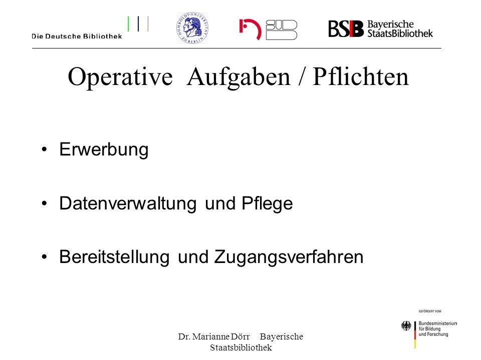 Dr. Marianne Dörr Bayerische Staatsbibliothek Operative Aufgaben / Pflichten Erwerbung Datenverwaltung und Pflege Bereitstellung und Zugangsverfahren