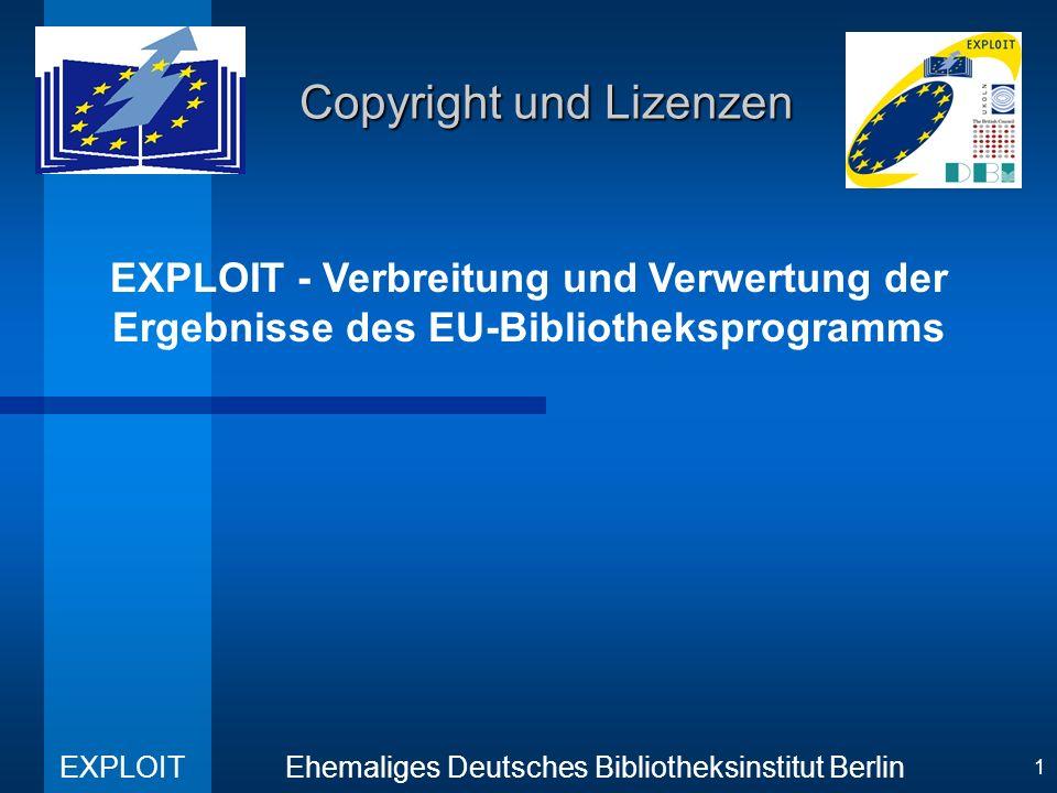EXPLOIT Ehemaliges Deutsches Bibliotheksinstitut Berlin 12 Copyright und Lizenzen Electronic Copyright Management Systems (3) Total Library Management Concept (TOLIMAC) –basierend auf Chipcarten und Erkennungstechnologie, –Integration von Managementfunktionen wie: Nutzeridentidentifizierung Zugangskontrolle Echtheitsbestätigung Electronische Bezahlung