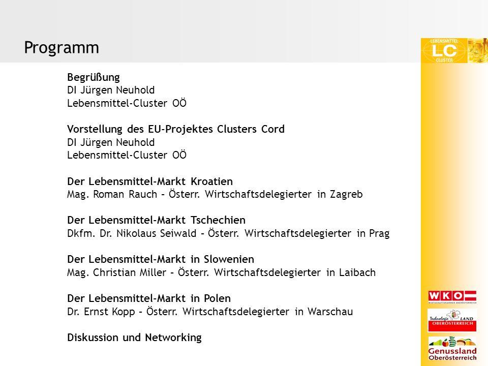 Begrüßung DI Jürgen Neuhold Lebensmittel-Cluster OÖ Vorstellung des EU-Projektes Clusters Cord DI Jürgen Neuhold Lebensmittel-Cluster OÖ Der Lebensmittel-Markt Kroatien Mag.