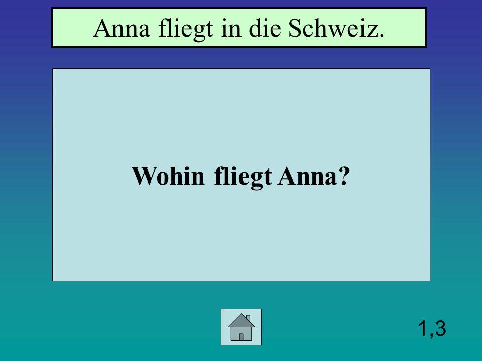 1,3 Wohin fliegt Anna? Anna fliegt in die Schweiz.