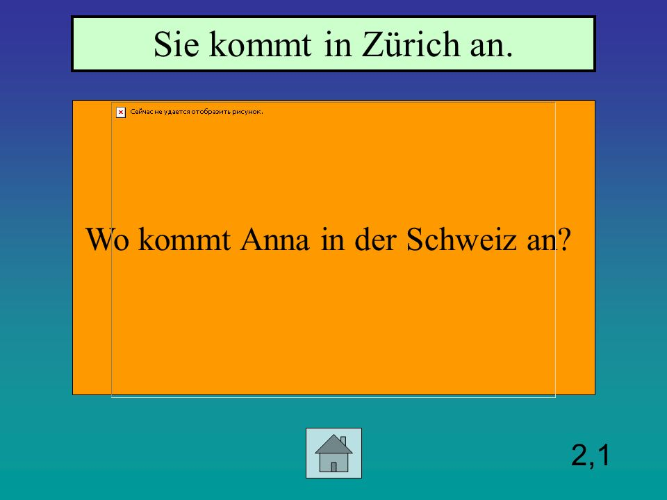 2,1 Wo kommt Anna in der Schweiz an? Sie kommt in Zürich an.