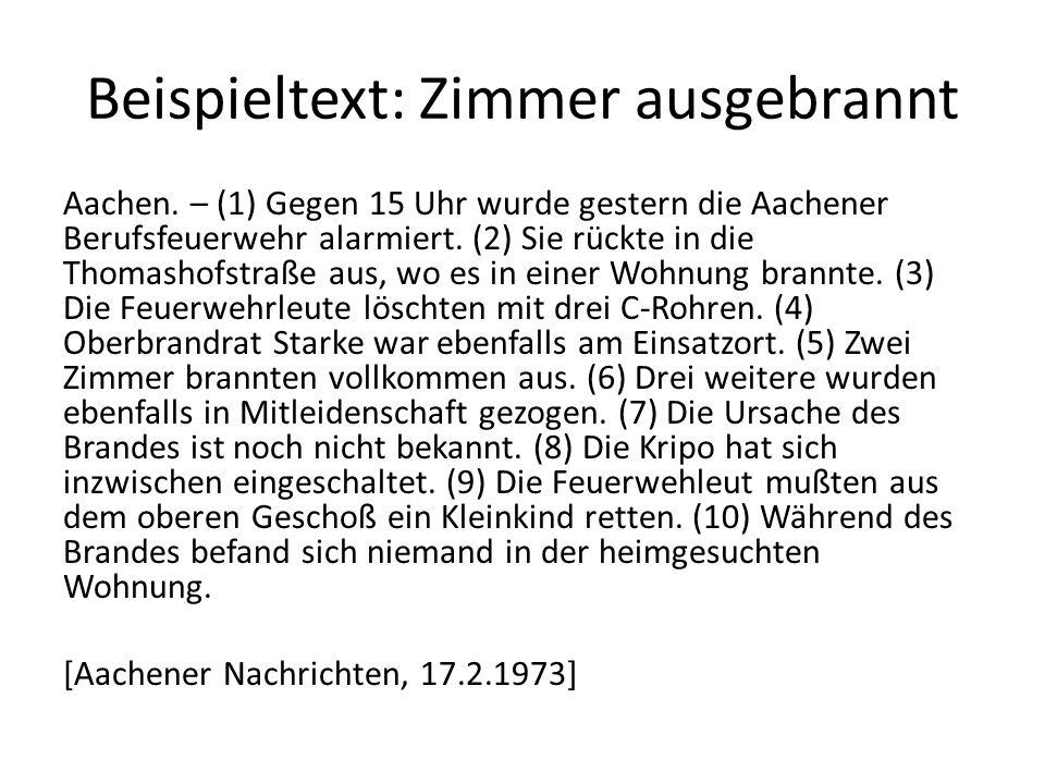 Beispieltext: Zimmer ausgebrannt Aachen.