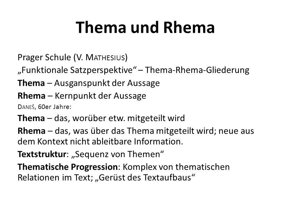 Thema und Rhema Prager Schule (V.