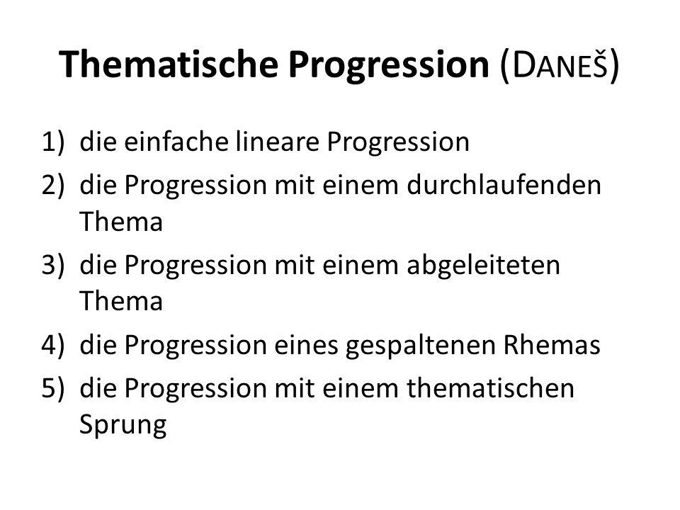 Thematische Progression (D ANEŠ ) 1)die einfache lineare Progression 2)die Progression mit einem durchlaufenden Thema 3)die Progression mit einem abgeleiteten Thema 4)die Progression eines gespaltenen Rhemas 5)die Progression mit einem thematischen Sprung