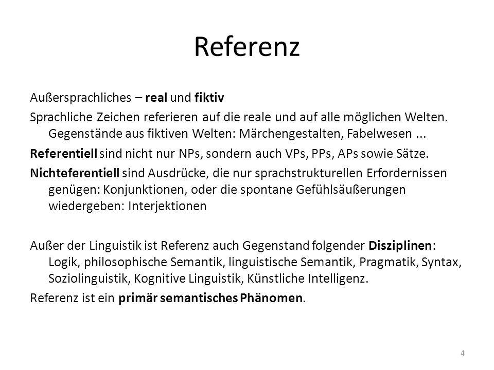 Referenz - Searle Jede Äußerung enthält mindestens einen Sprechakt.