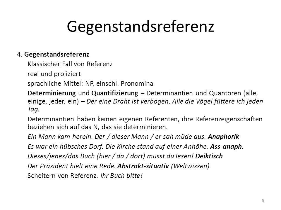 Gegenstandsreferenz 4. Gegenstandsreferenz Klassischer Fall von Referenz real und projiziert sprachliche Mittel: NP, einschl. Pronomina Determinierung