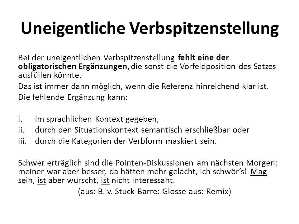 8.Linksversetzung Beispiele: die Brigitte – die kann ich schon gar nicht leiden...