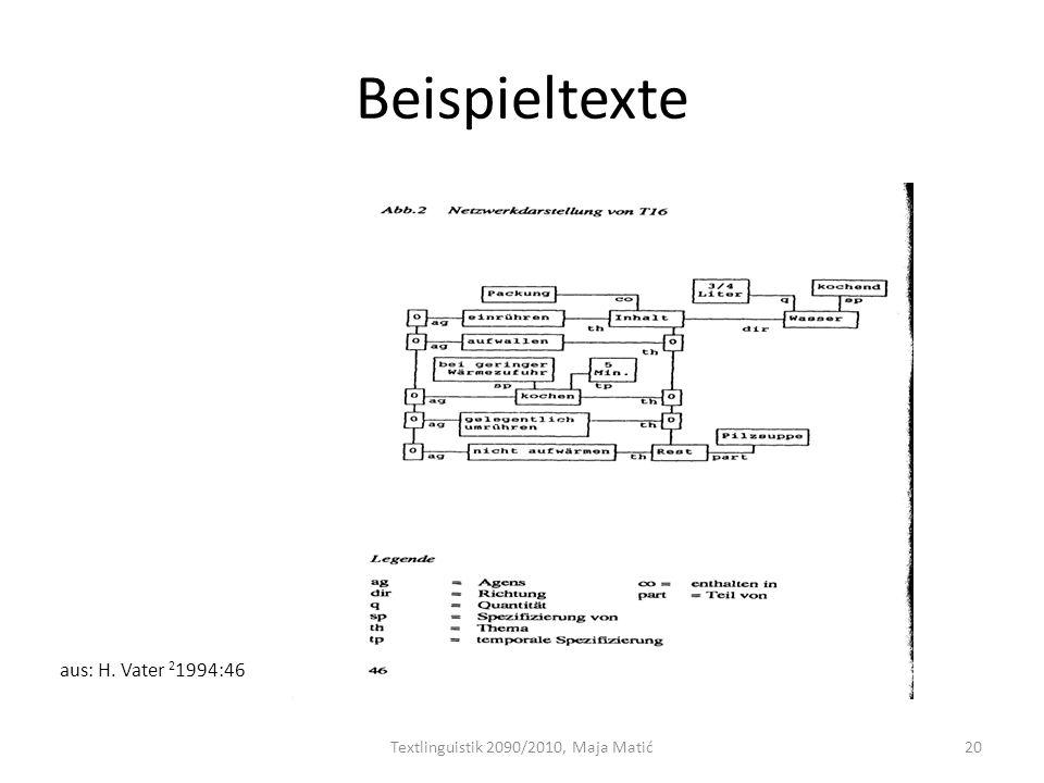 Beispieltexte Textlinguistik 2090/2010, Maja Matić20 aus: H. Vater 2 1994:46