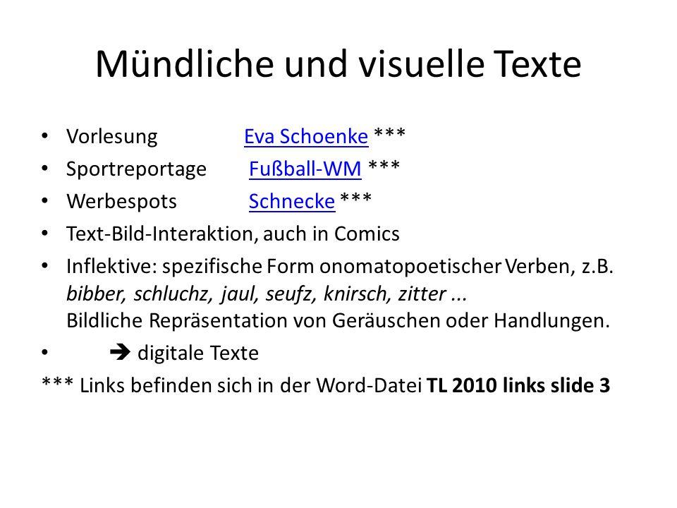 Mündliche und visuelle Texte VorlesungEva Schoenke ***Eva Schoenke Sportreportage Fußball-WM ***Fußball-WM Werbespots Schnecke ***Schnecke Text-Bild-I