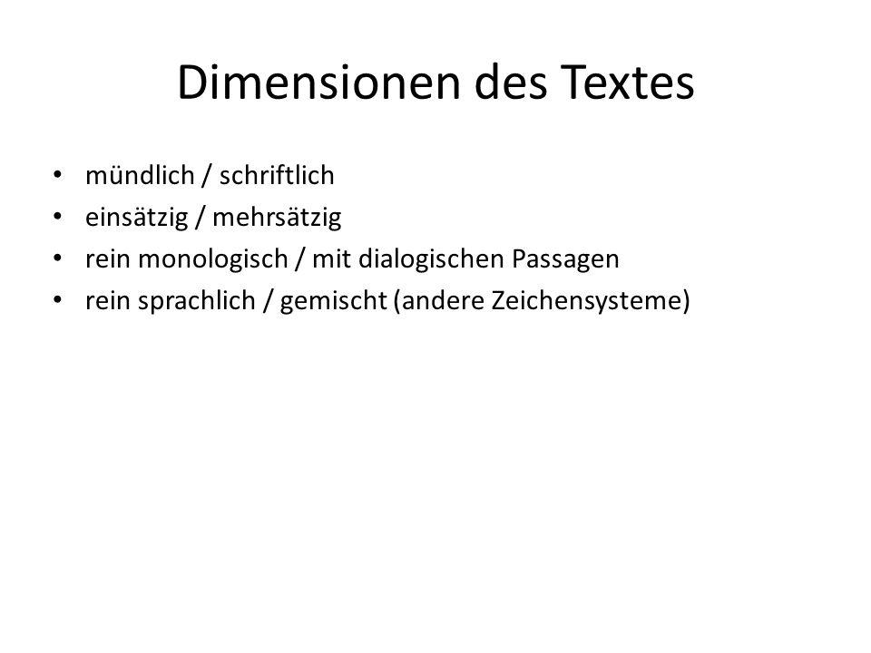 Dimensionen des Textes mündlich / schriftlich einsätzig / mehrsätzig rein monologisch / mit dialogischen Passagen rein sprachlich / gemischt (andere Z