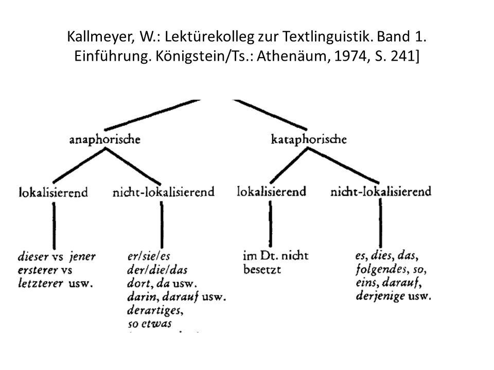 Kallmeyer, W.: Lektürekolleg zur Textlinguistik. Band 1. Einführung. Königstein/Ts.: Athenäum, 1974, S. 241]