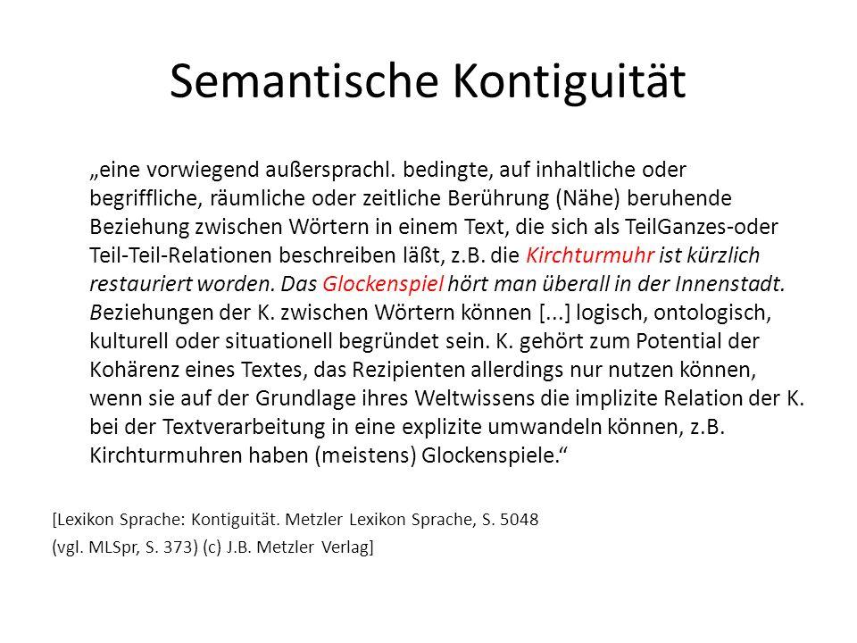 Semantische Kontiguität eine vorwiegend außersprachl. bedingte, auf inhaltliche oder begriffliche, räumliche oder zeitliche Berührung (Nähe) beruhende