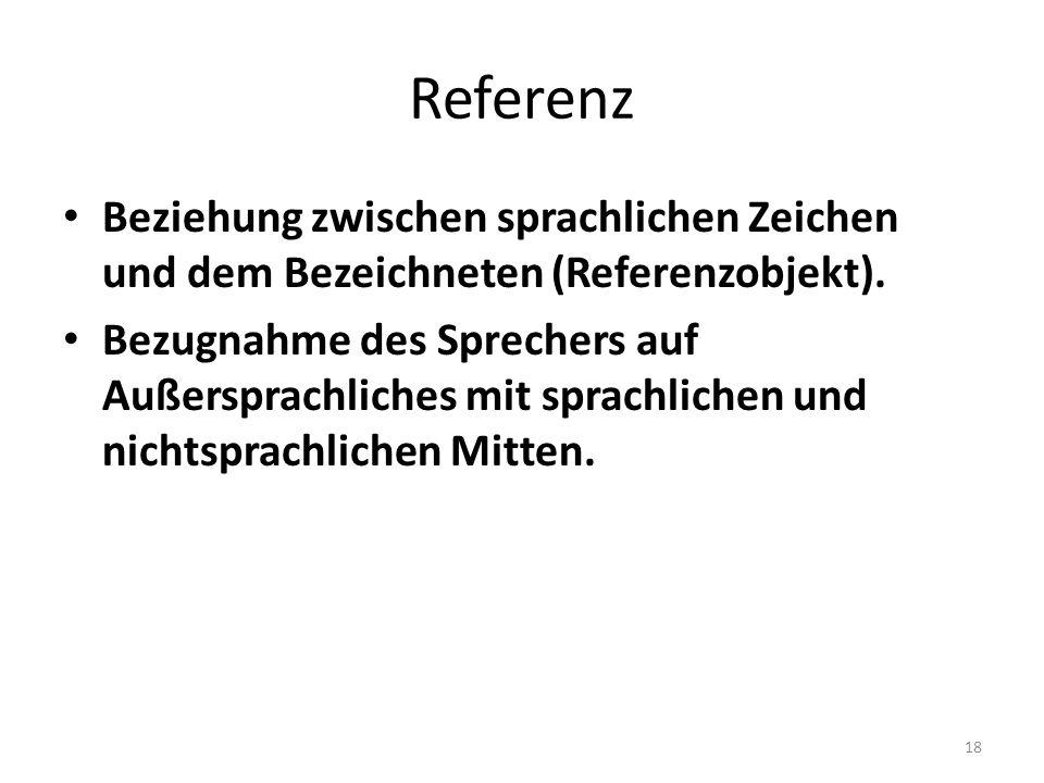 Referenz Beziehung zwischen sprachlichen Zeichen und dem Bezeichneten (Referenzobjekt). Bezugnahme des Sprechers auf Außersprachliches mit sprachliche