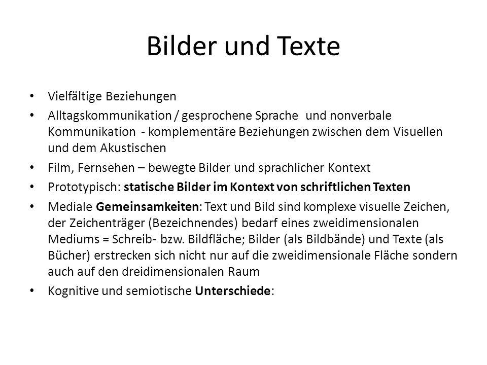 Bilder und Texte Vielfältige Beziehungen Alltagskommunikation / gesprochene Sprache und nonverbale Kommunikation - komplementäre Beziehungen zwischen