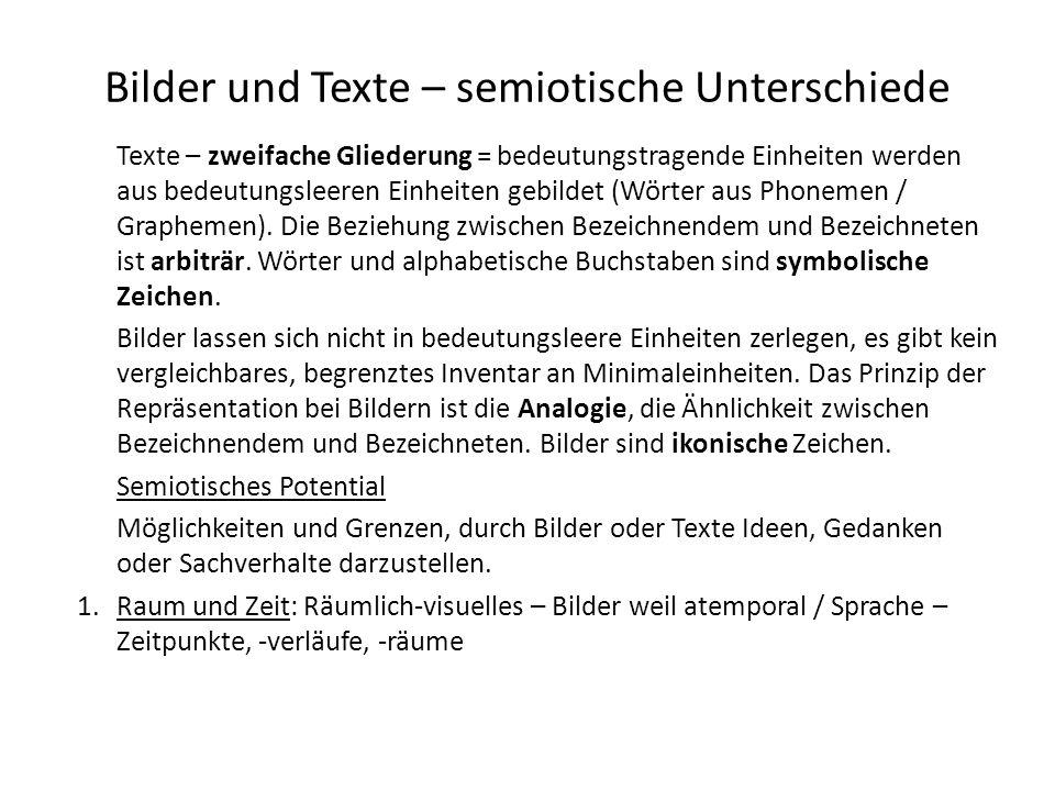 Bilder und Texte – semiotische Unterschiede Texte – zweifache Gliederung = bedeutungstragende Einheiten werden aus bedeutungsleeren Einheiten gebildet