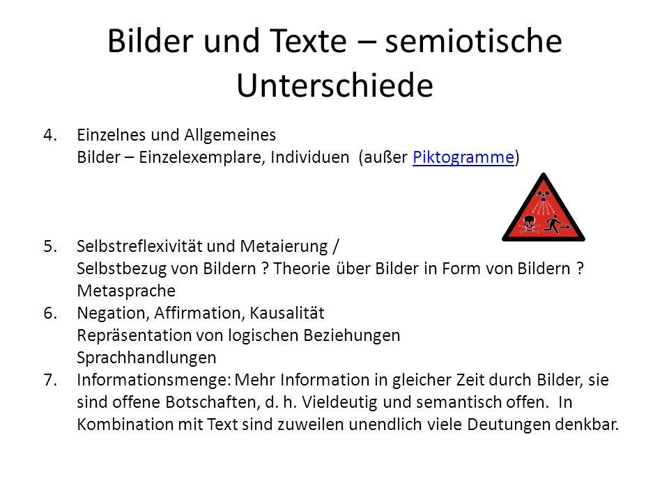 Bilder und Texte – semiotische Unterschiede 4.Einzelnes und Allgemeines Bilder – Einzelexemplare, Individuen (außer Piktogramme)Piktogramme 5.Selbstre