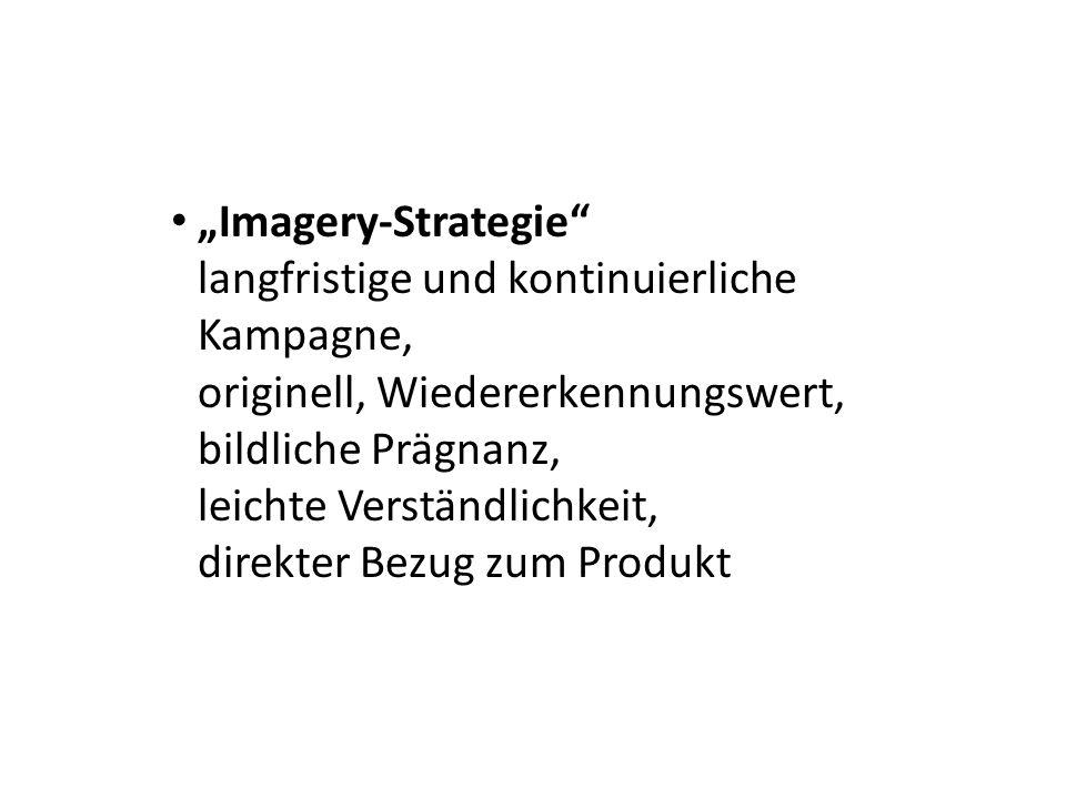 Imagery-Strategie langfristige und kontinuierliche Kampagne, originell, Wiedererkennungswert, bildliche Prägnanz, leichte Verständlichkeit, direkter B