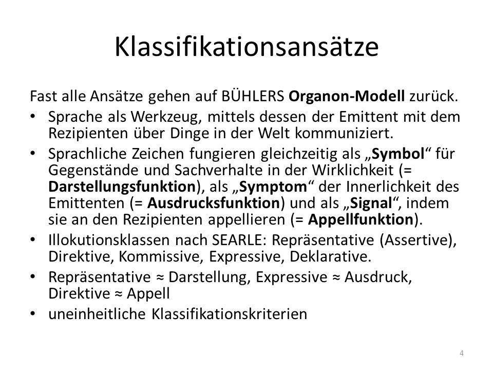 Klassifikationsansätze Fast alle Ansätze gehen auf BÜHLERS Organon-Modell zurück.