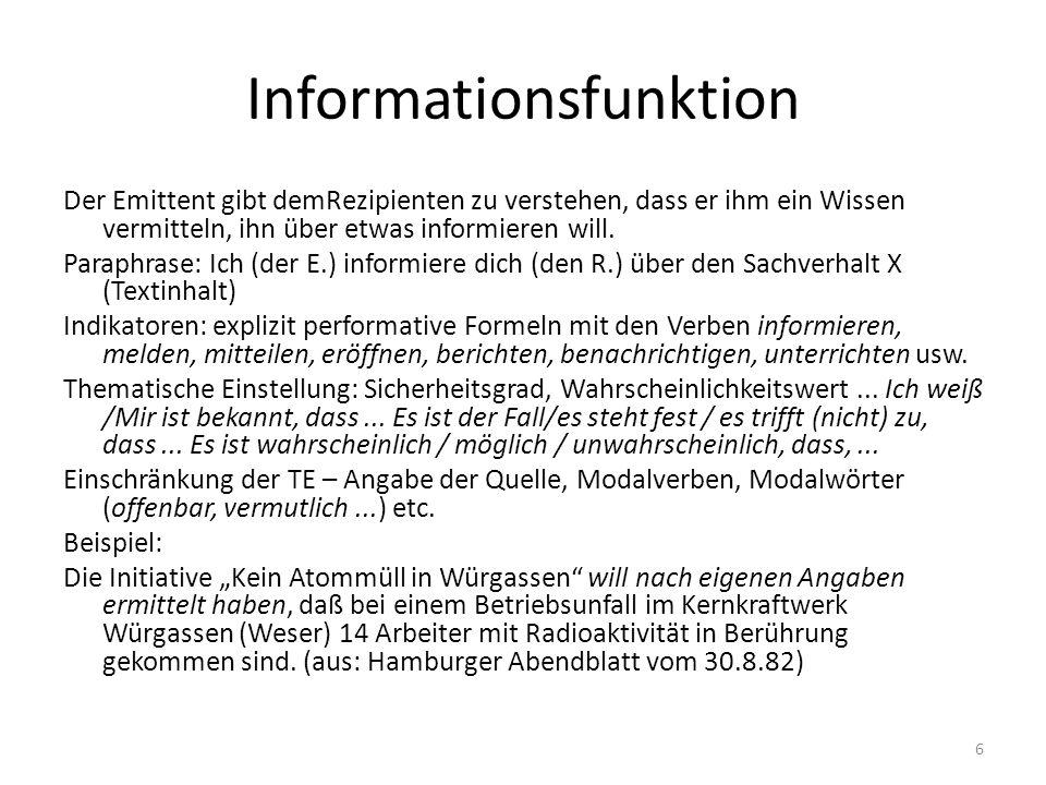 Informationsfunktion Der Emittent gibt demRezipienten zu verstehen, dass er ihm ein Wissen vermitteln, ihn über etwas informieren will.