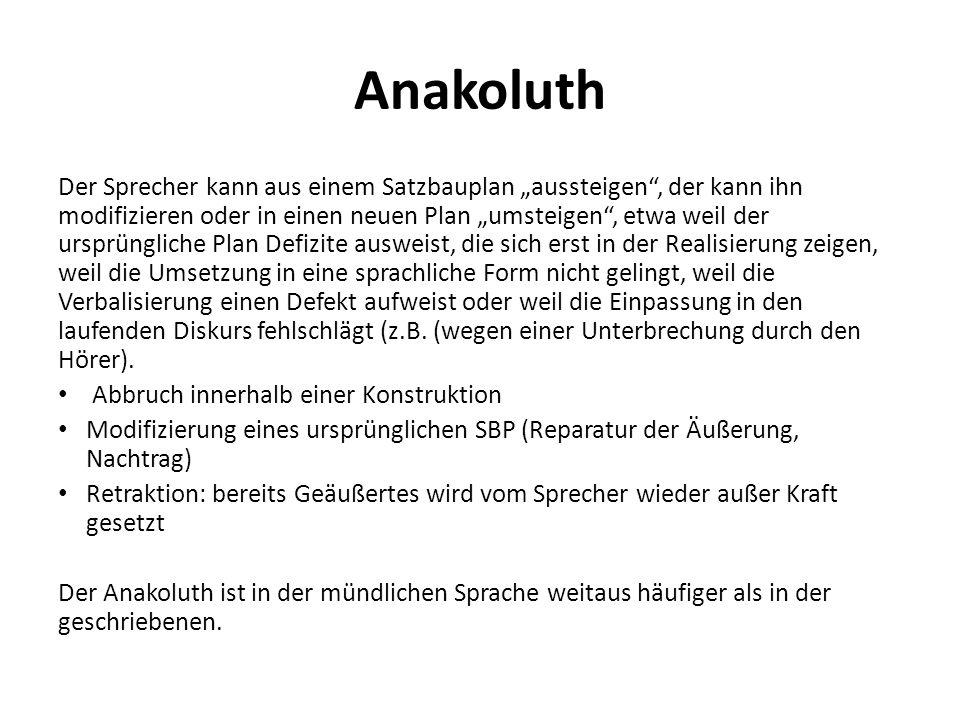 Anakoluth Der Sprecher kann aus einem Satzbauplan aussteigen, der kann ihn modifizieren oder in einen neuen Plan umsteigen, etwa weil der ursprünglich