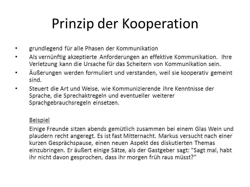 Prinzip der Kooperation grundlegend für alle Phasen der Kommunikation Als vernünftig akzeptierte Anforderungen an effektive Kommunikation. Ihre Verlet