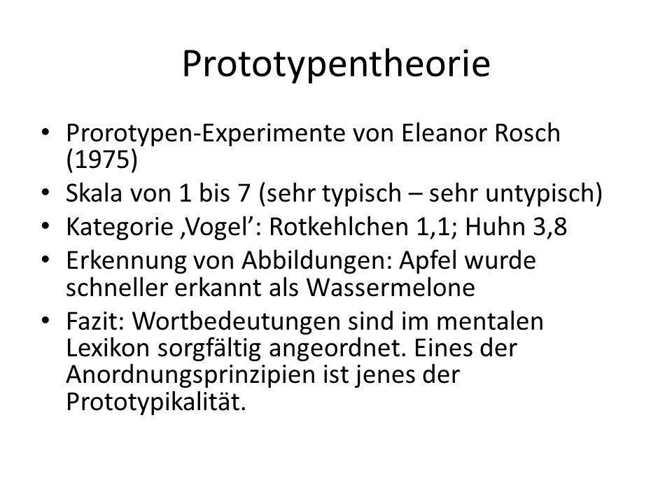 Prototypentheorie Prorotypen-Experimente von Eleanor Rosch (1975) Skala von 1 bis 7 (sehr typisch – sehr untypisch) Kategorie,Vogel: Rotkehlchen 1,1;