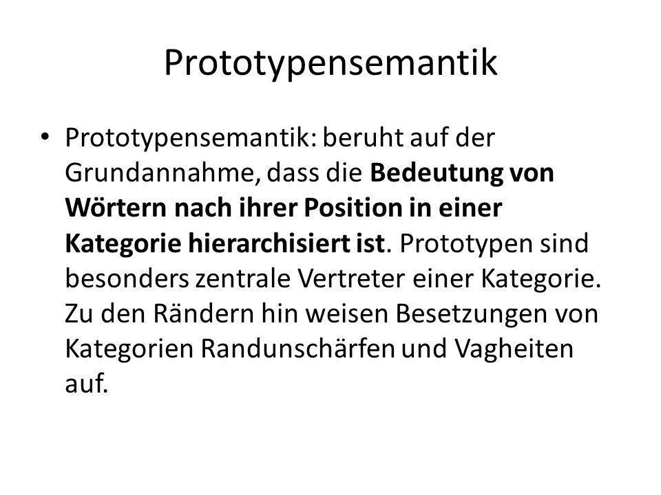 Prototypensemantik Prototypensemantik: beruht auf der Grundannahme, dass die Bedeutung von Wörtern nach ihrer Position in einer Kategorie hierarchisi
