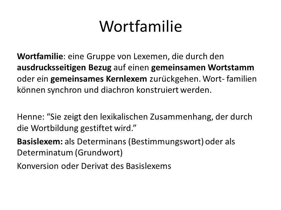 Wortfamilie Wortfamilie: eine Gruppe von Lexemen, die durch den ausdrucksseitigen Bezug auf einen gemeinsamen Wortstamm oder ein gemeinsames Kernlexem