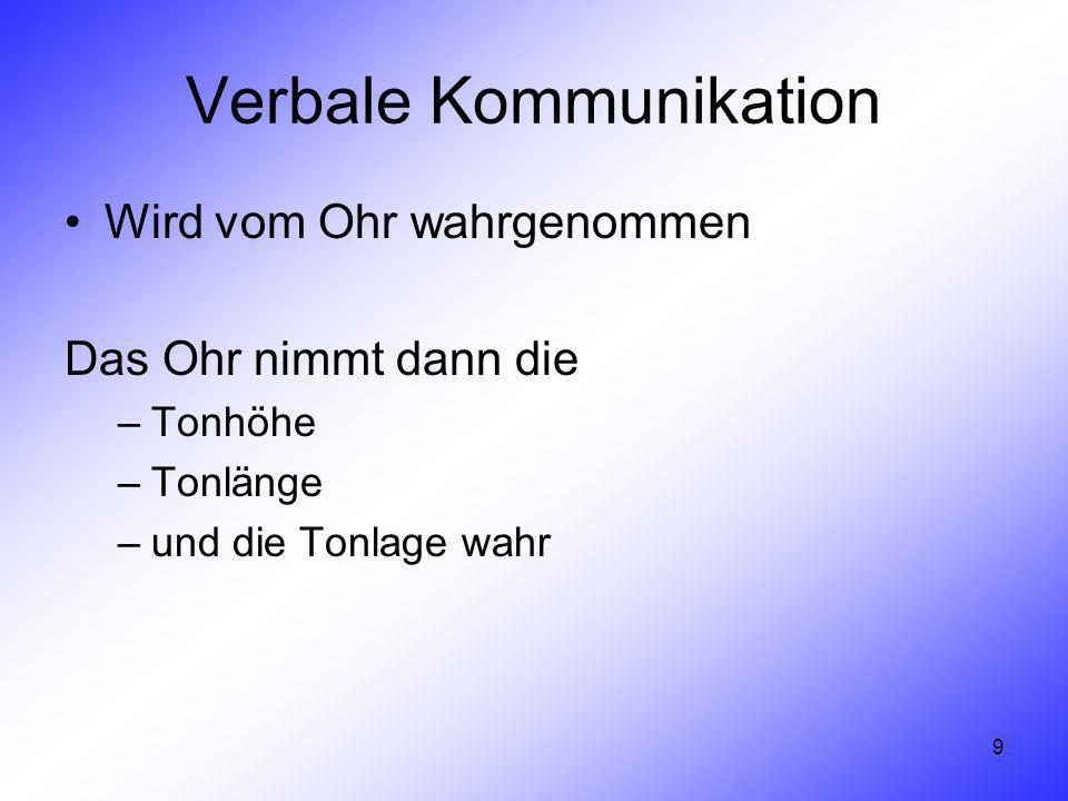 9 Verbale Kommunikation Wird vom Ohr wahrgenommen Das Ohr nimmt dann die –Tonhöhe –Tonlänge –und die Tonlage wahr