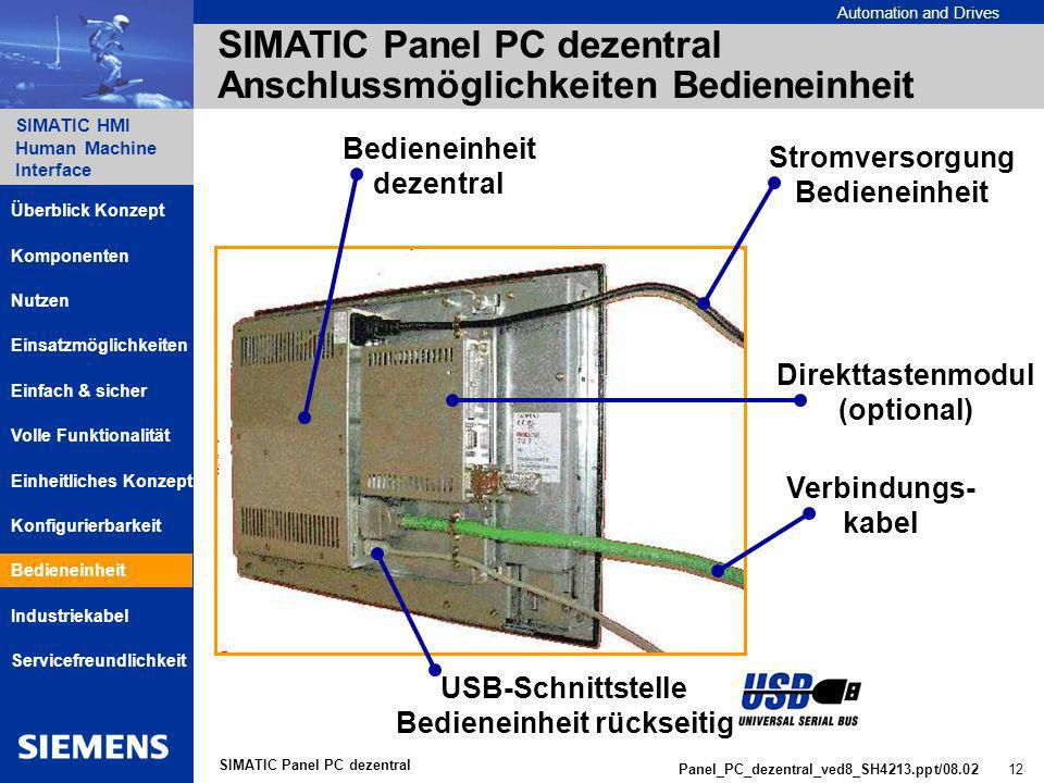 Automation and Drives SIMATIC HMI Human Machine Interface Panel_PC_dezentral_ved8_SH4213.ppt/08.02 12 SIMATIC Panel PC dezentral SIMATIC Panel PC dezentral Anschlussmöglichkeiten Bedieneinheit Bedieneinheit dezentral Stromversorgung Bedieneinheit Direkttastenmodul (optional) Verbindungs- kabel USB-Schnittstelle Bedieneinheit rückseitig Komponenten Einsatzmöglichkeiten Nutzen Einheitliches Konzept Einfach & sicher Servicefreundlichkeit Überblick Konzept Volle Funktionalität Bedieneinheit Industriekabel Konfigurierbarkeit