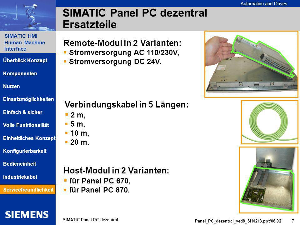 Automation and Drives SIMATIC HMI Human Machine Interface Panel_PC_dezentral_ved8_SH4213.ppt/08.02 17 SIMATIC Panel PC dezentral SIMATIC Panel PC dezentral Ersatzteile Remote-Modul in 2 Varianten: Stromversorgung AC 110/230V, Stromversorgung DC 24V.
