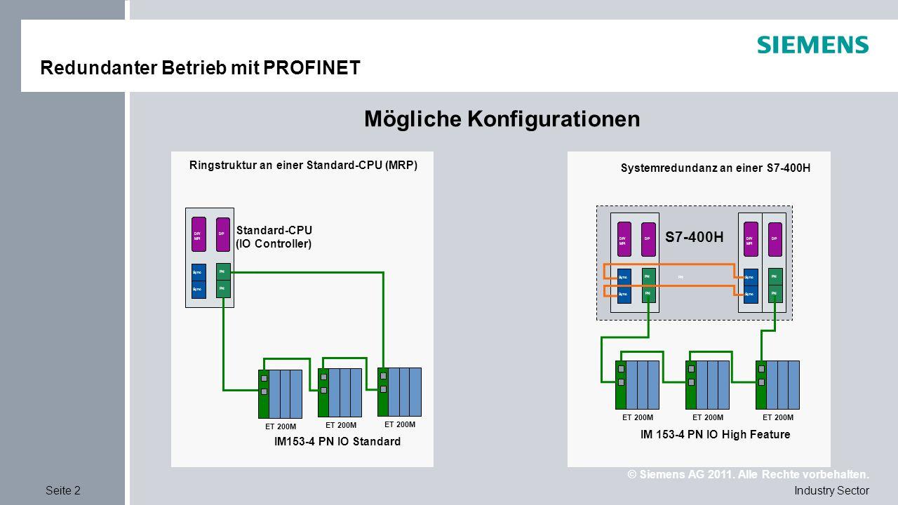 © Siemens AG 2011. Alle Rechte vorbehalten. Industry SectorSeite 2 Redundanter Betrieb mit PROFINET Mögliche Konfigurationen PN Sync PN DP/ MPI Sync P