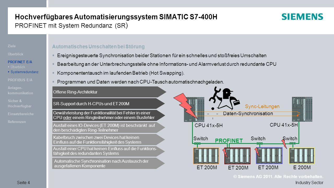 © Siemens AG 2011. Alle Rechte vorbehalten. Industry SectorSeite 4 Referenzen Einsatzbereiche Sicher & Hochverfügbar Anlagen- kommunikation PROFIBUS E
