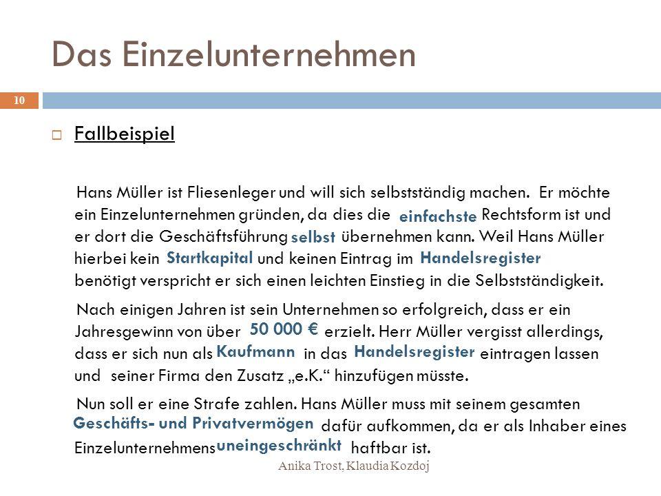 Anika Trost, Klaudia Kozdoj Das Einzelunternehmen Fallbeispiel Hans Müller ist Fliesenleger und will sich selbstständig machen. Er möchte ein Einzelun