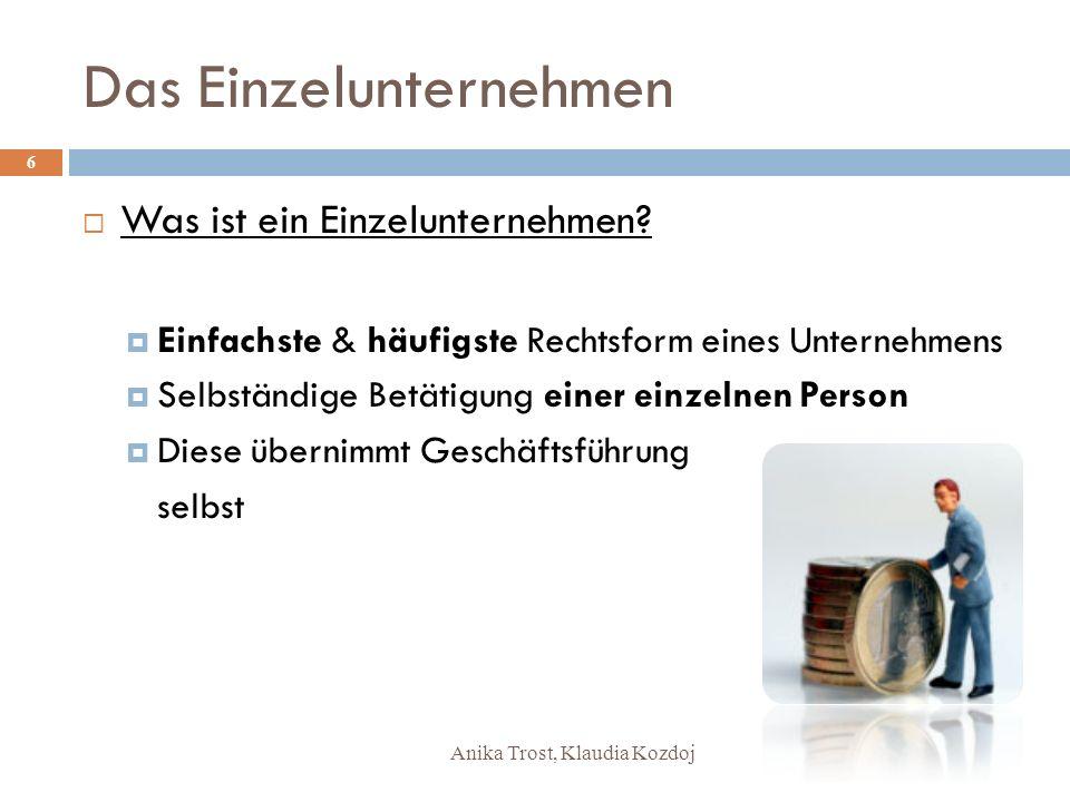 Anika Trost, Klaudia Kozdoj Das Einzelunternehmen Was ist ein Einzelunternehmen? Einfachste & häufigste Rechtsform eines Unternehmens Selbständige Bet