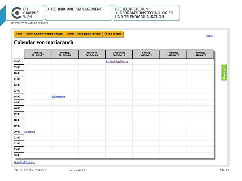 Seite 14 Kalender Maria, Philipp, Herbert11.01.2014