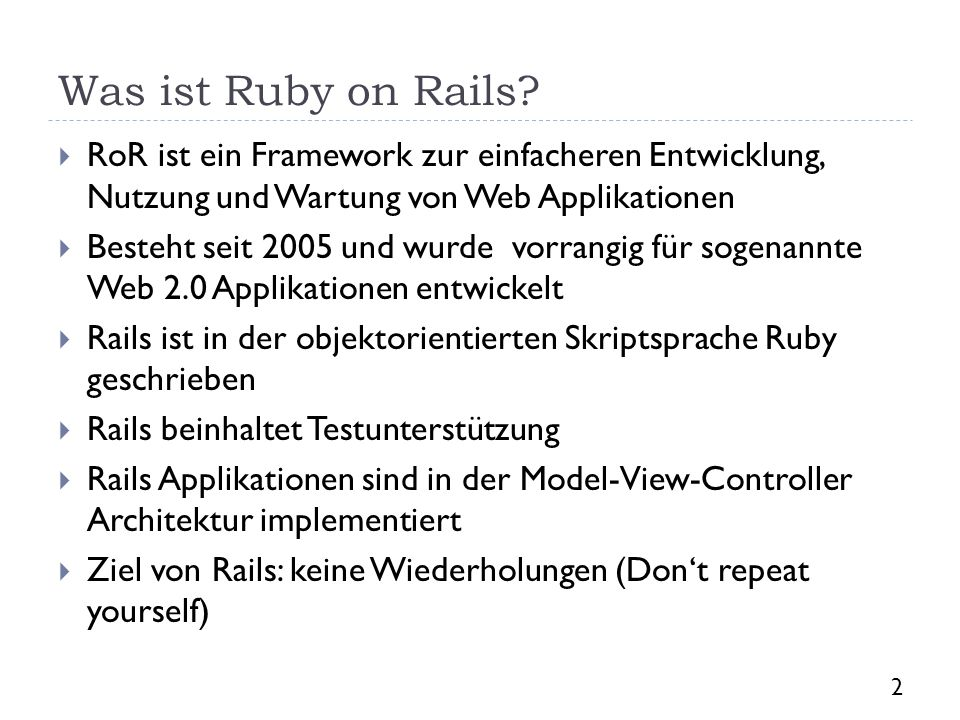 Was ist Ruby on Rails.