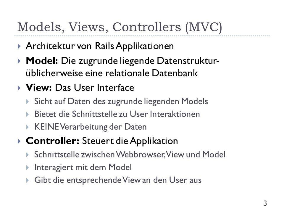 Models, Views, Controllers (MVC) Architektur von Rails Applikationen Model: Die zugrunde liegende Datenstruktur- üblicherweise eine relationale Datenb