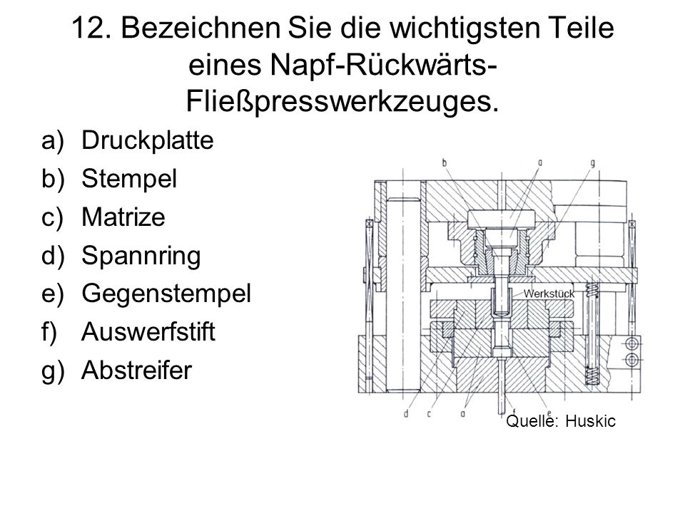 12. Bezeichnen Sie die wichtigsten Teile eines Napf-Rückwärts- Fließpresswerkzeuges. a)Druckplatte b)Stempel c)Matrize d)Spannring e)Gegenstempel f)Au